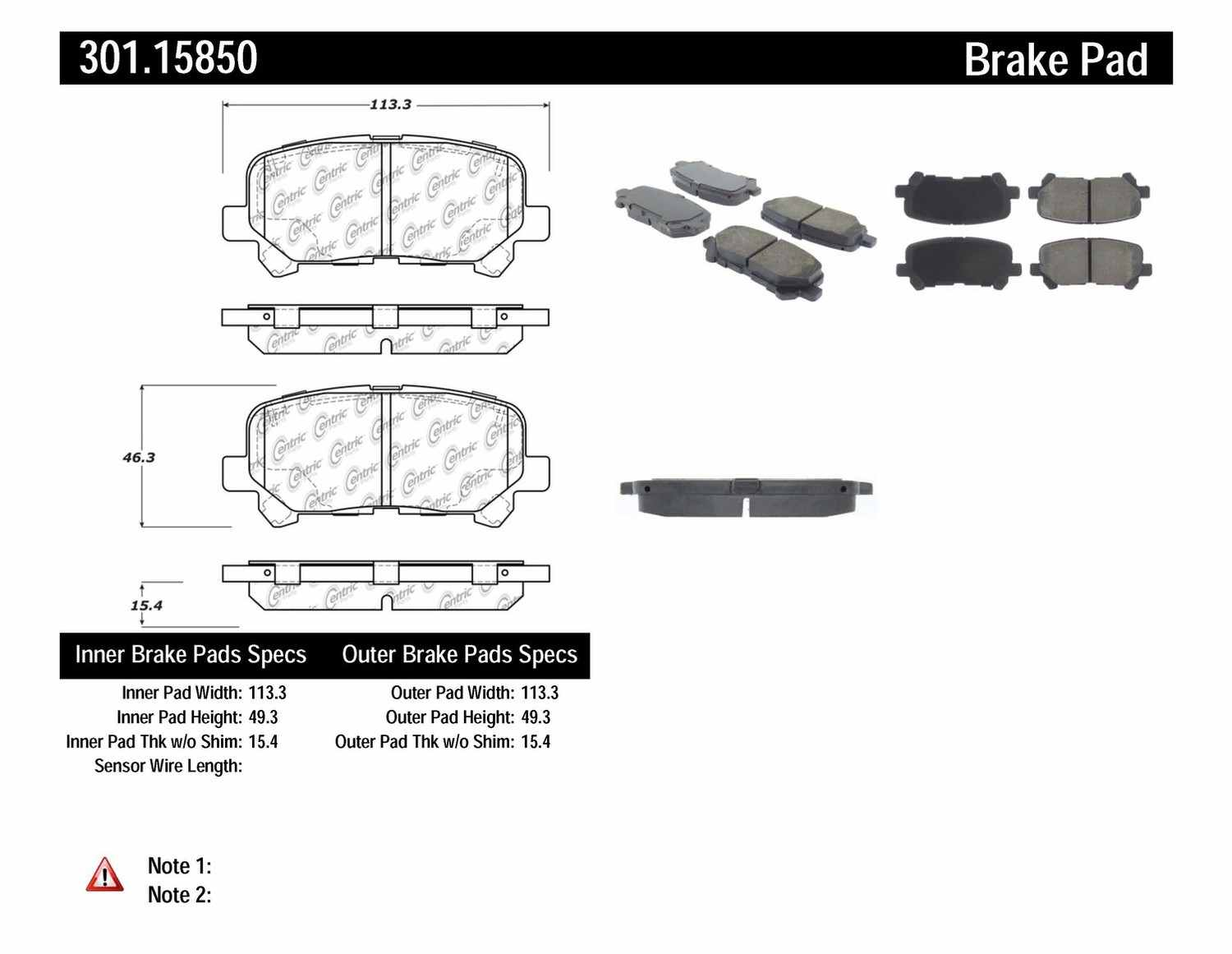 CENTRIC PARTS - Premium Ceramic Pads w/Shims & Hardware (Rear) - CEC 301.15850