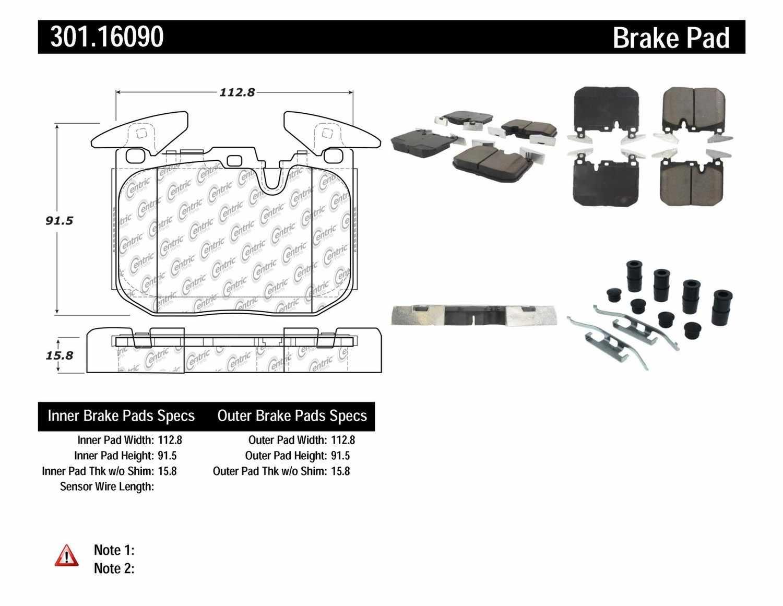 CENTRIC PARTS - Premium Ceramic Pads w/Shims (Front) - CEC 301.16090