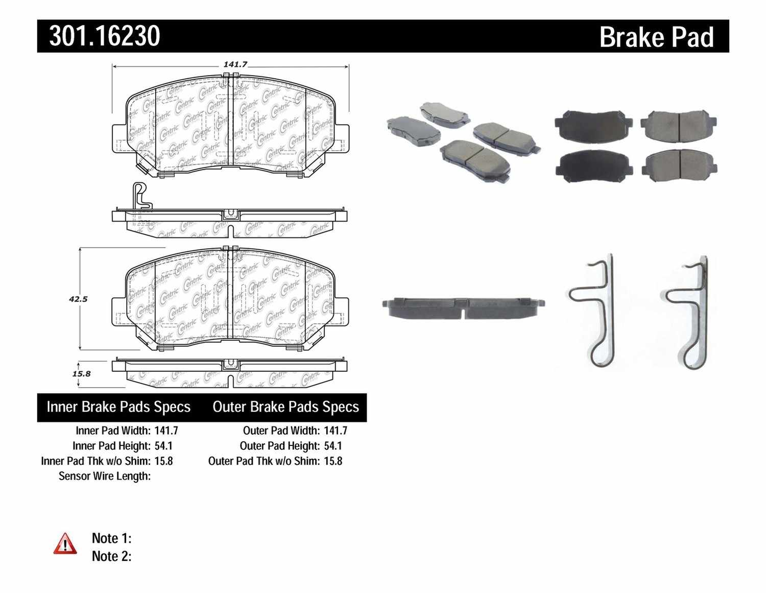 Disc Brake Pad Set-Premium Ceramic Pads with Shims and Hardware Front Centric