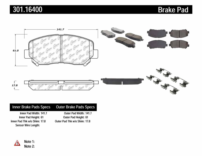 CENTRIC PARTS - Premium Ceramic Pads w/Shims (Front) - CEC 301.16400