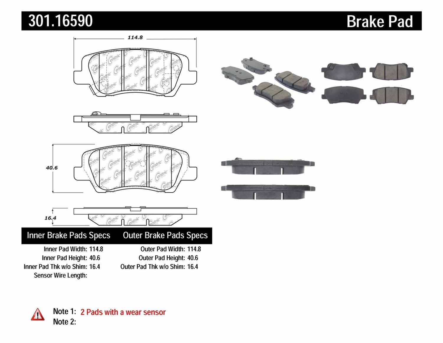 CENTRIC PARTS - Premium Ceramic Pads w/Shims & Hardware (Rear) - CEC 301.16590