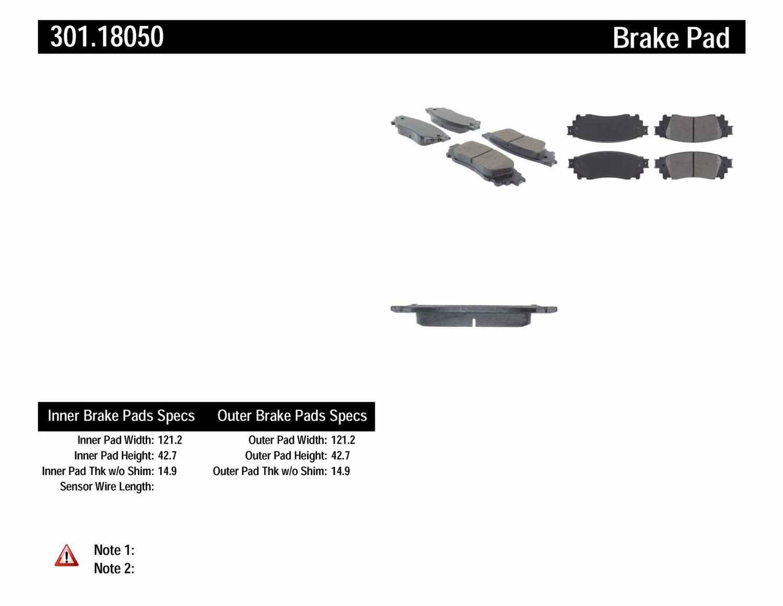 CENTRIC PARTS - Premium Ceramic Pads w/Shims (Rear) - CEC 301.18050