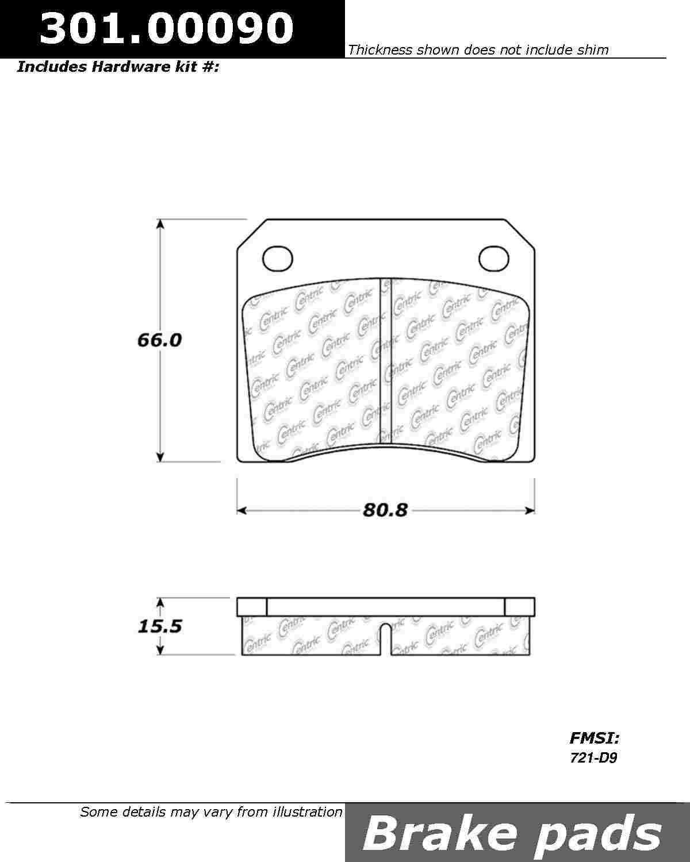 CENTRIC PARTS - Premium Ceramic Pads w/Shims - CEC 301.00090