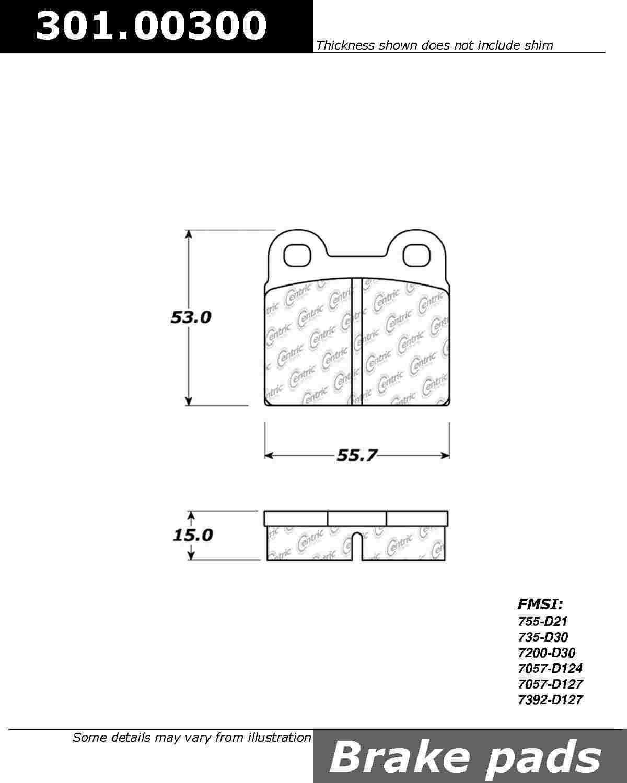 CENTRIC PARTS - Premium Ceramic Pads w/Shims (Front) - CEC 301.00300