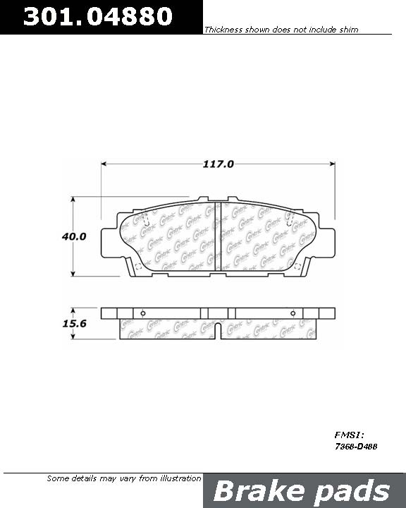 CENTRIC PARTS - Centric Premium Ceramic Disc Brake Pad Sets (Rear) - CEC 301.04880