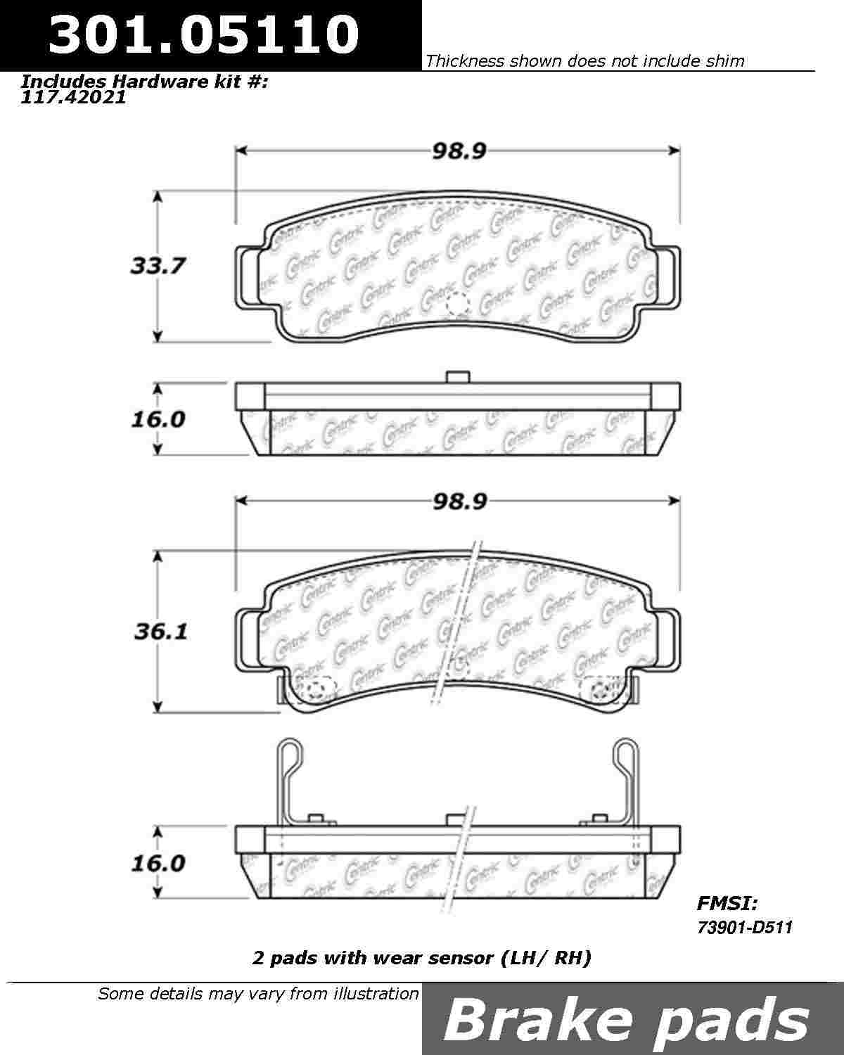 CENTRIC PARTS - Premium Ceramic Pads w/Shims & Hardware (Rear) - CEC 301.05110