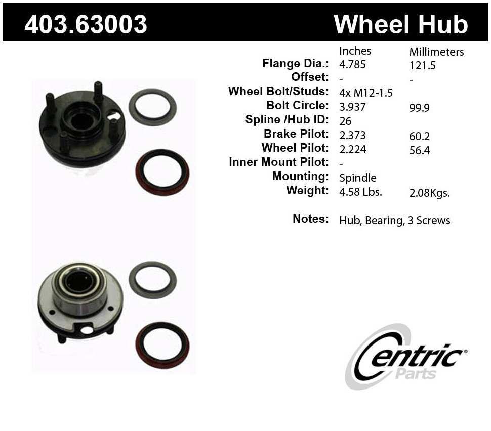 CENTRIC PARTS - Centric Premium Wheel Bearing Hub Repair Kits & Hub Assemblies - CEC 403.63003