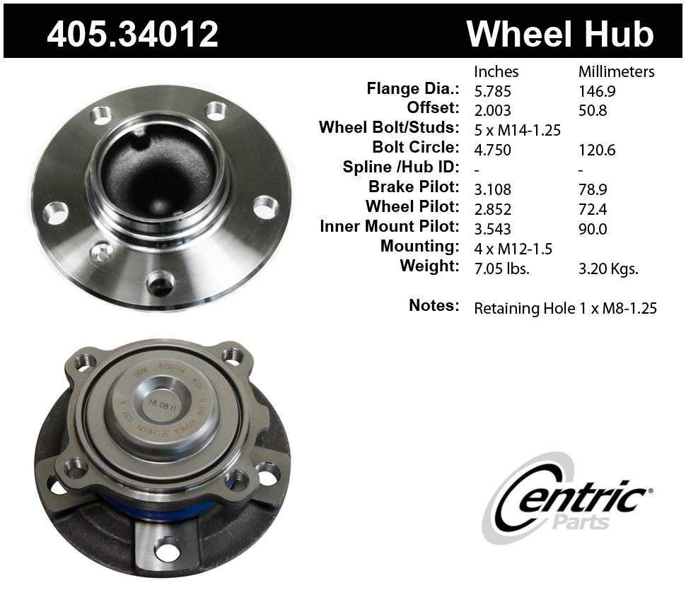 CENTRIC PARTS - Premium Hubs (Front) - CEC 405.34012