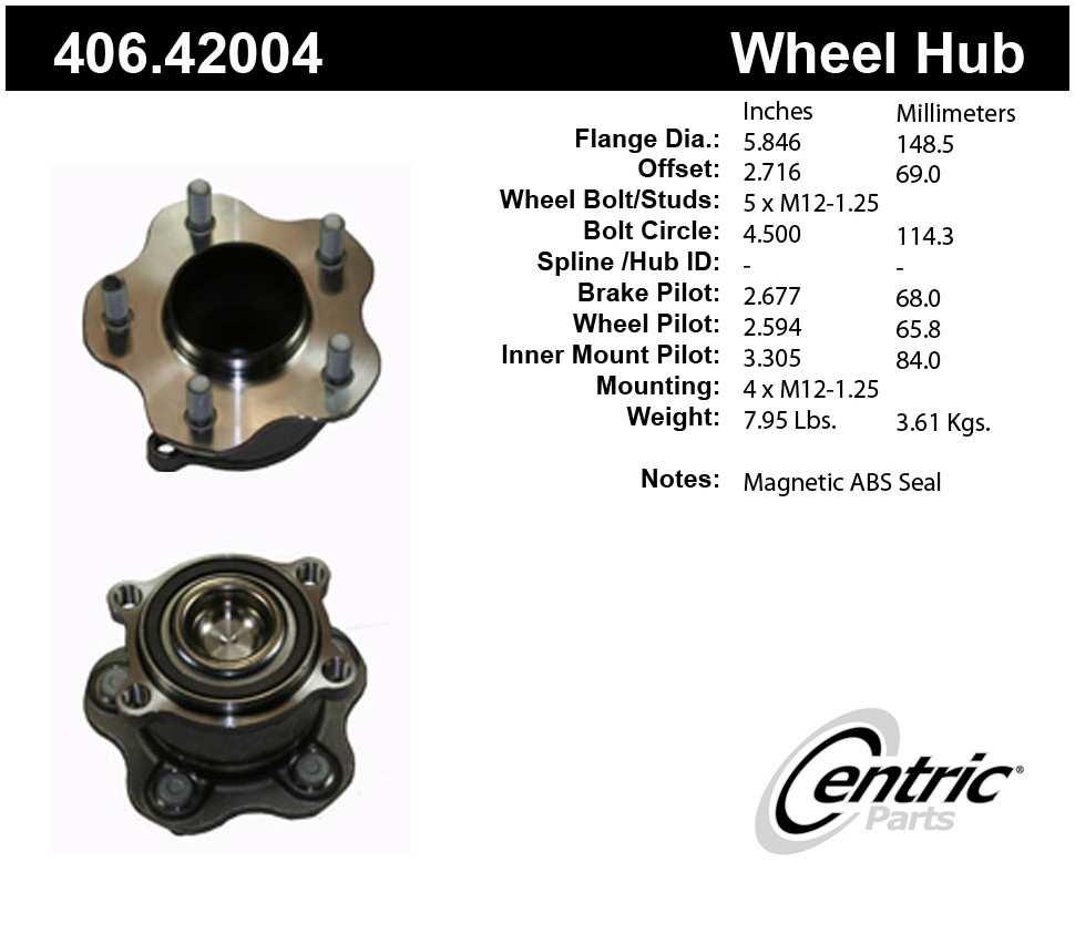 CENTRIC PARTS - Premium Hubs (Rear) - CEC 406.42004