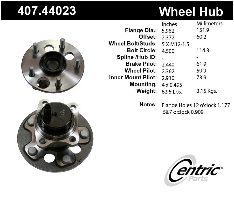 CENTRIC PARTS - Centric Premium Wheel Bearing Hub Repair Kits & Hub Assemblies - CEC 407.44023
