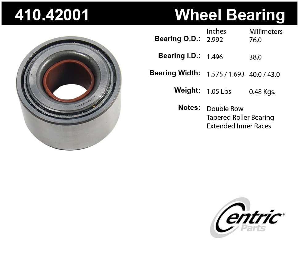 CENTRIC PARTS - Centric Premium Axle Shaft, Hub & Wheel Bearings - CEC 410.42001