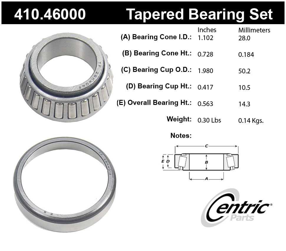 CENTRIC PARTS - Premium Wheel Bearing & Race Set - CEC 410.46000