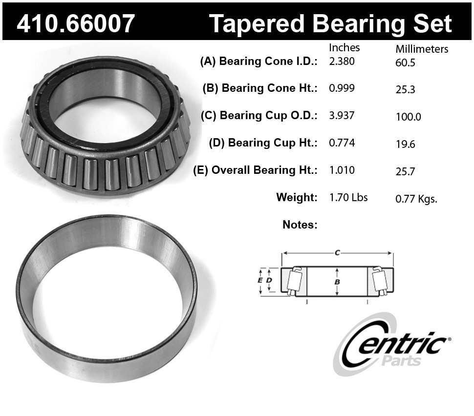 CENTRIC PARTS - Centric Premium Axle Shaft, Hub & Wheel Bearings - CEC 410.66007