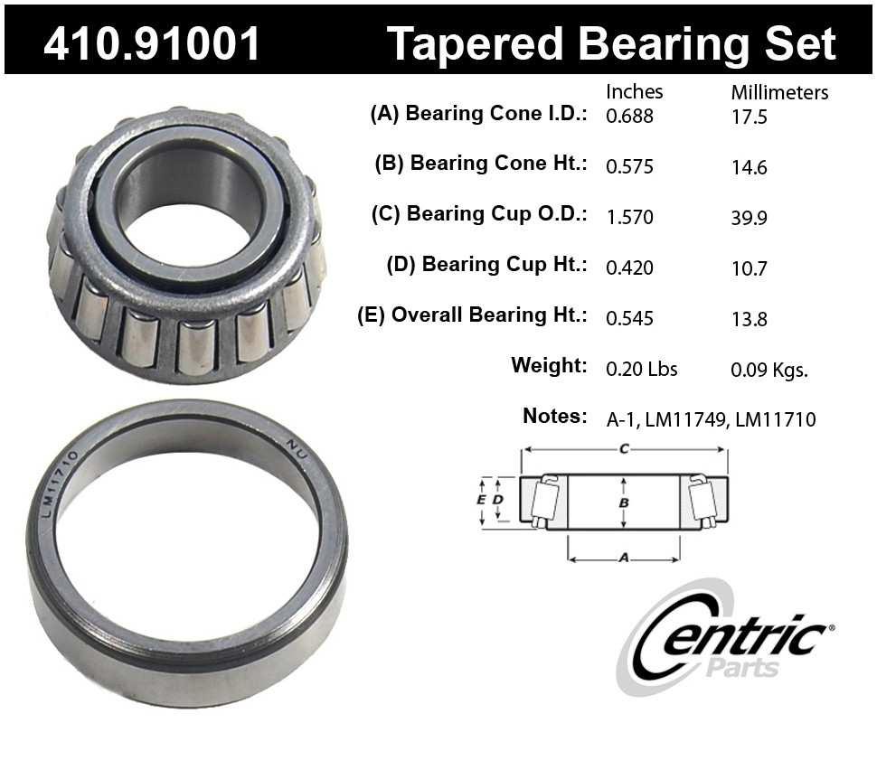 CENTRIC PARTS - Premium Wheel Bearing & Race Set - CEC 410.91001