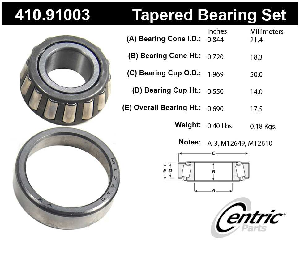 CENTRIC PARTS - Premium Bearings - CEC 410.91003