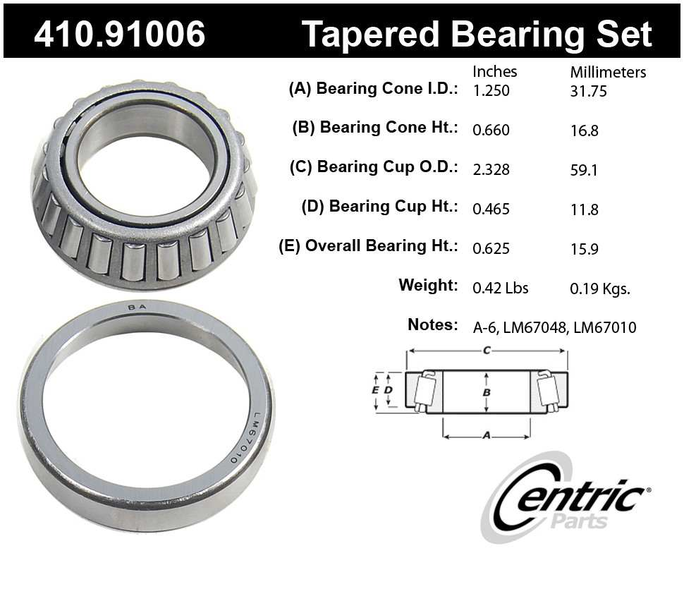 CENTRIC PARTS - Premium Bearings - CEC 410.91006