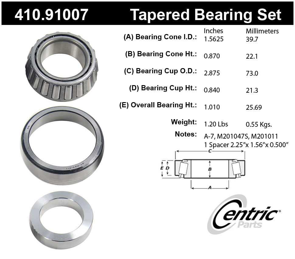 CENTRIC PARTS - Premium Axle Shaft Bearing Kit - CEC 410.91007