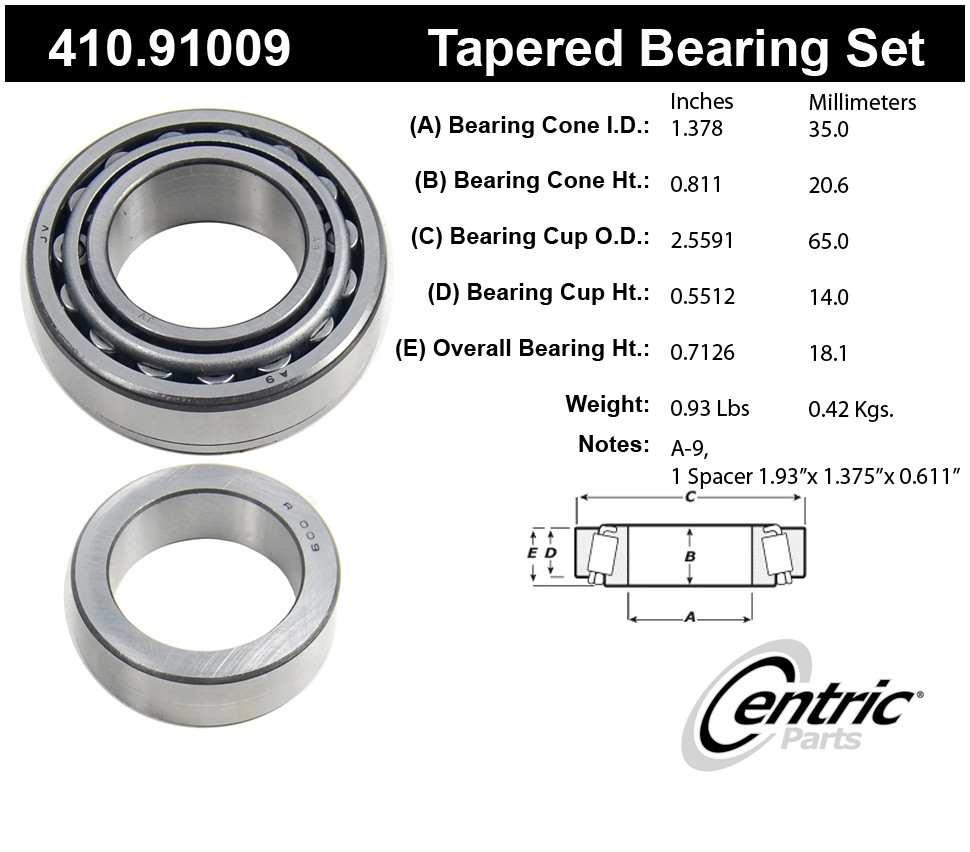 CENTRIC PARTS - Premium Axle Shaft Bearing Kit - CEC 410.91009