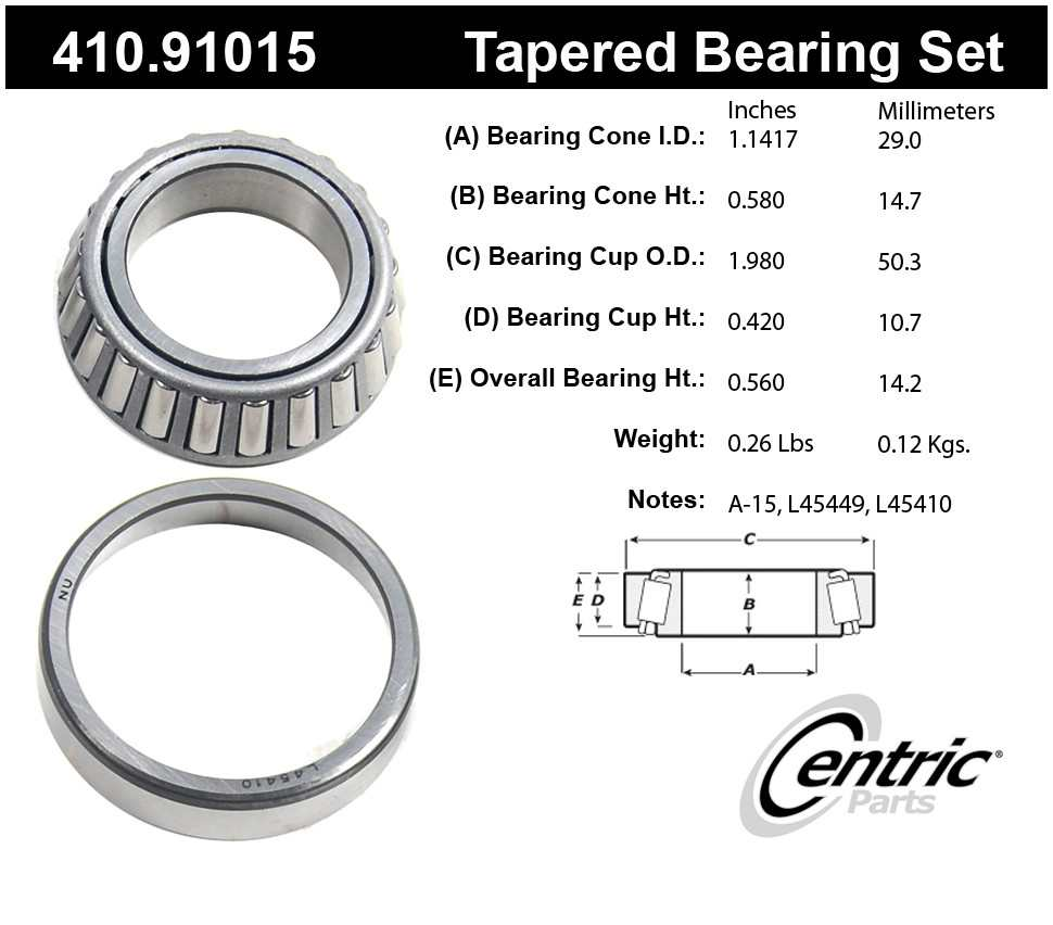 CENTRIC PARTS - Premium Bearings - CEC 410.91015