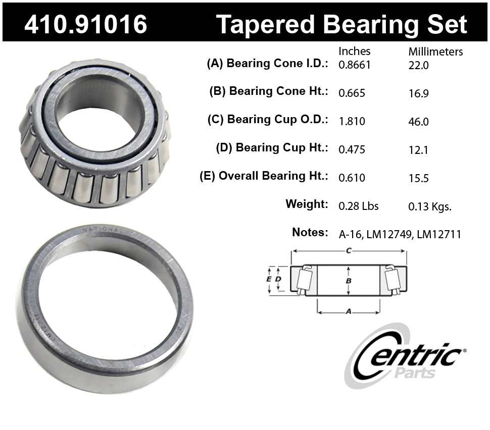 CENTRIC PARTS - Premium Bearings - CEC 410.91016