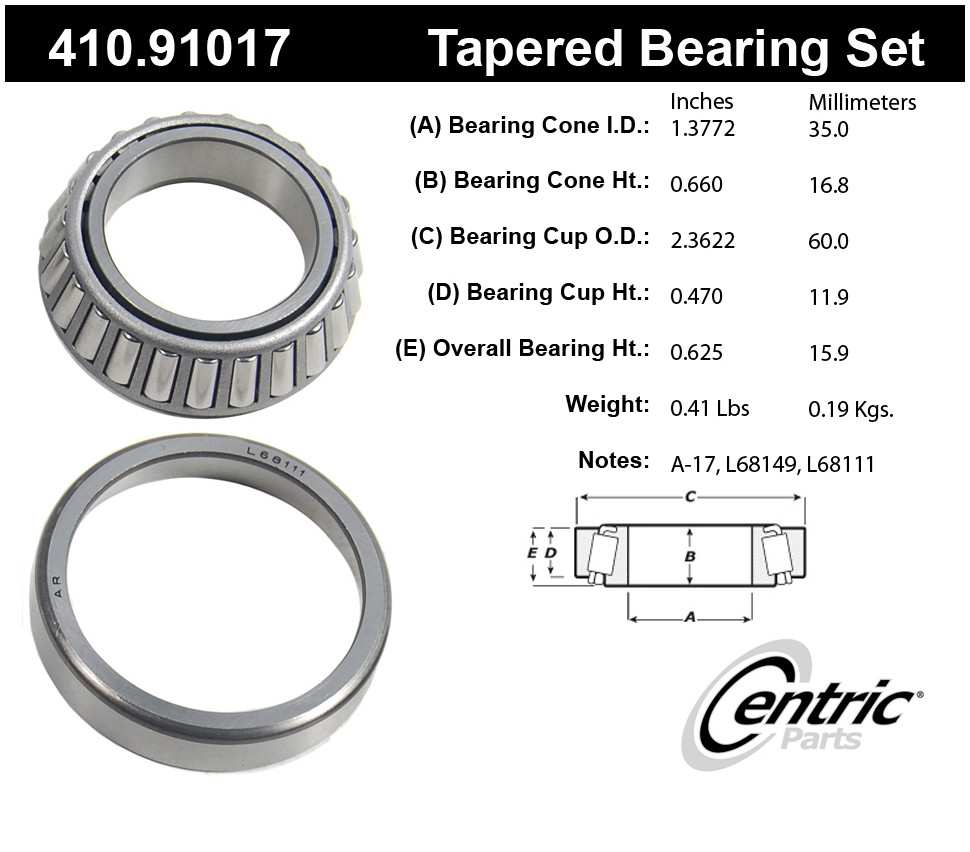 CENTRIC PARTS - Premium Bearings - CEC 410.91017