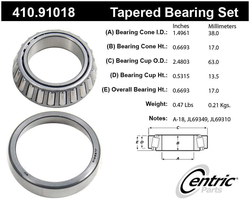CENTRIC PARTS - Centric Premium Axle Shaft, Hub & Wheel Bearings (Front Inner) - CEC 410.91018