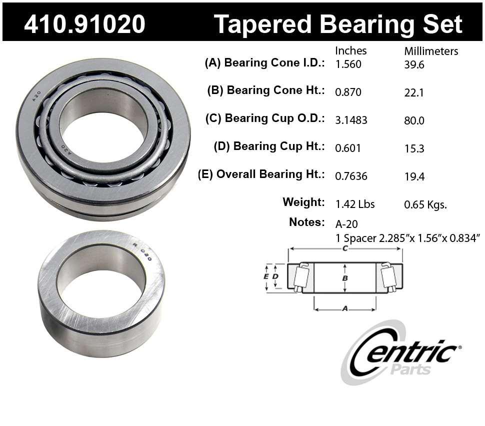 CENTRIC PARTS - Premium Axle Shaft Bearing Kit - CEC 410.91020