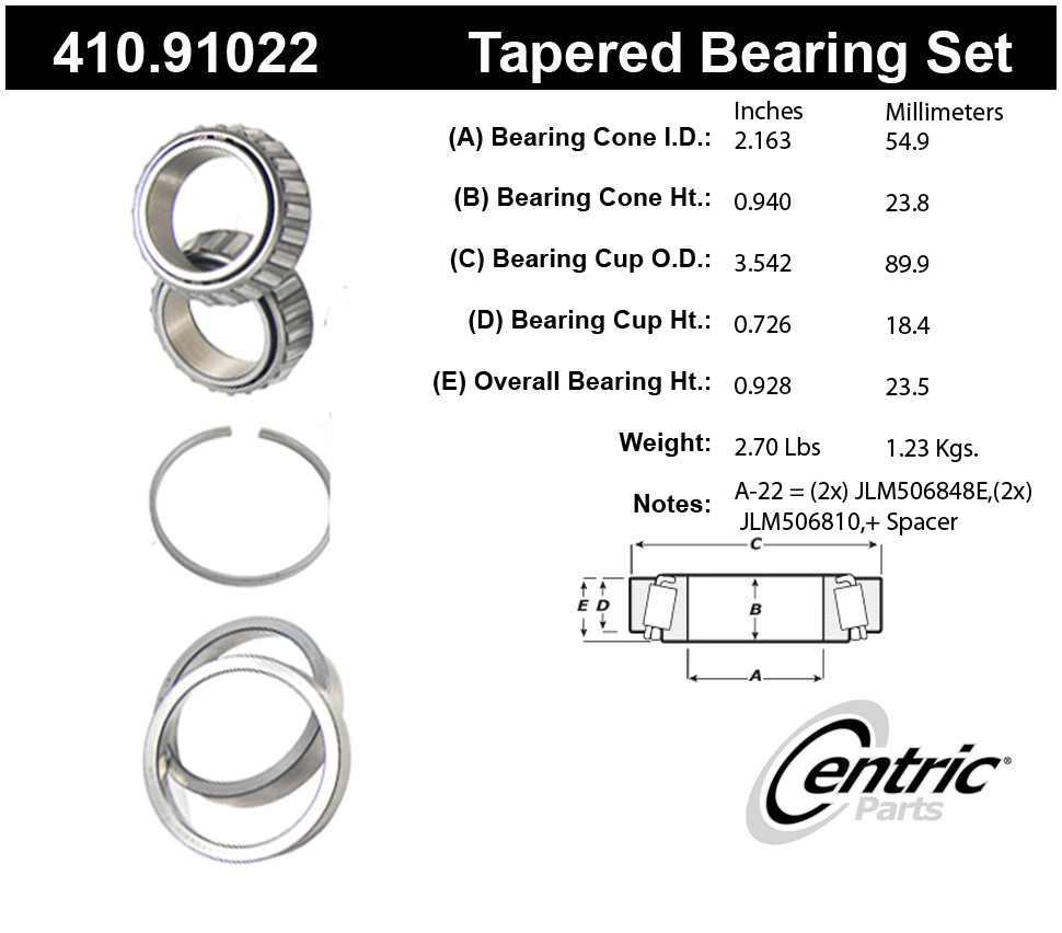 CENTRIC PARTS - Premium Wheel Bearing & Race Set - CEC 410.91022