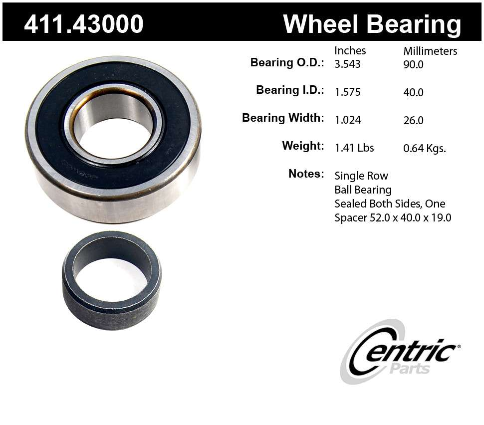 CENTRIC PARTS - Premium Axle Shaft Bearing Assembly - CEC 411.43000