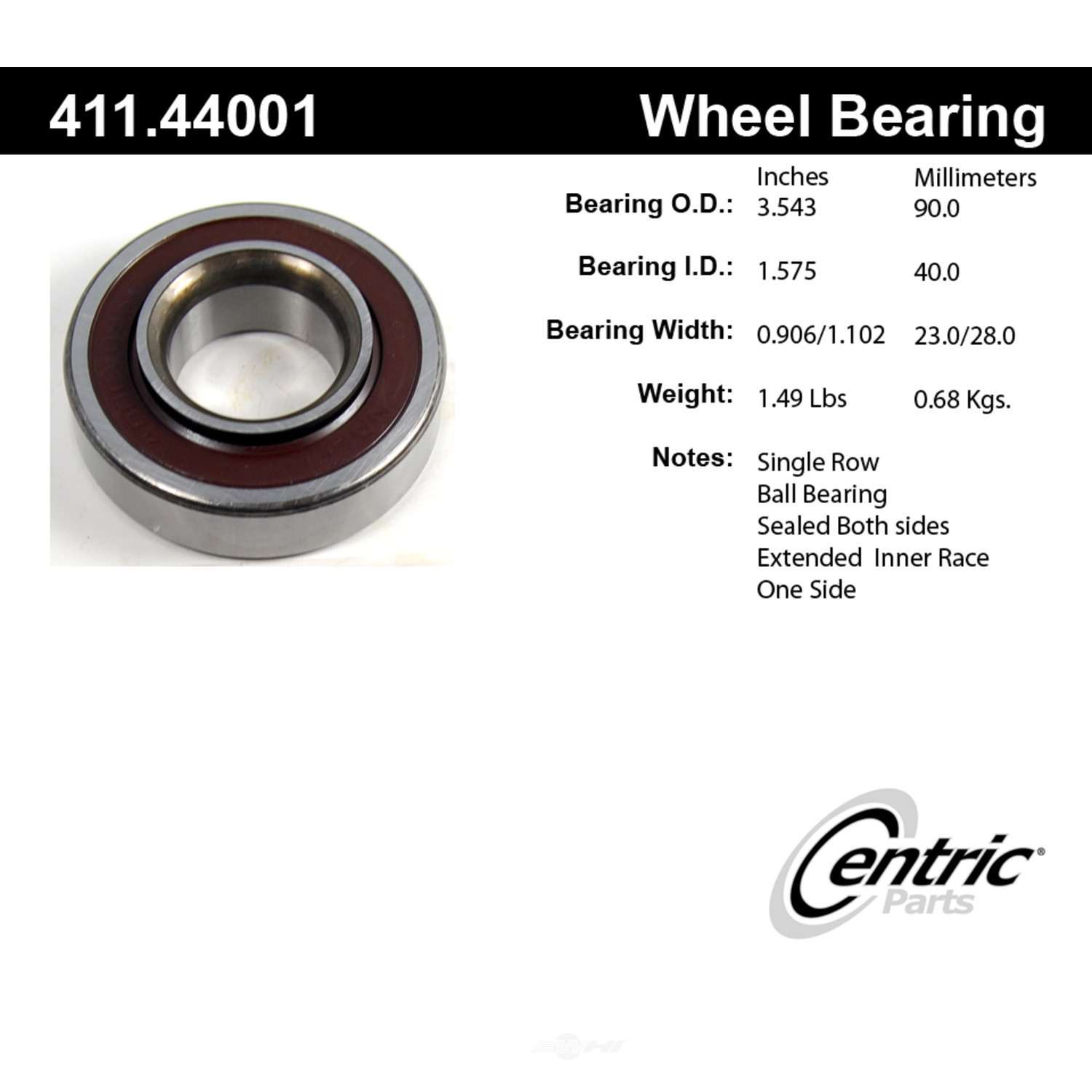 CENTRIC PARTS - Premium Axle Shaft Bearing Assembly - CEC 411.44001