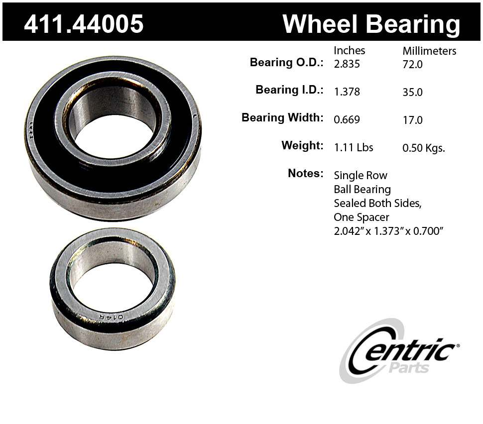 CENTRIC PARTS - Premium Axle Shaft Bearing Kit - CEC 411.44005