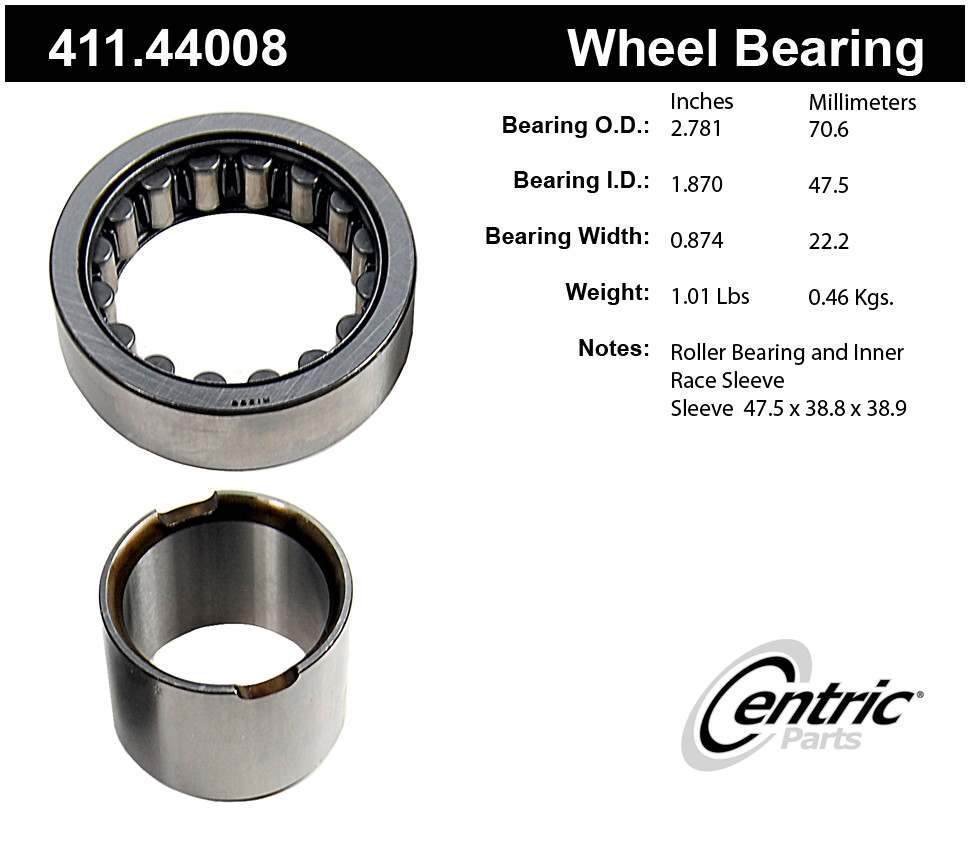 CENTRIC PARTS - Centric Premium Axle Shaft, Hub & Wheel Bearings - CEC 411.44008