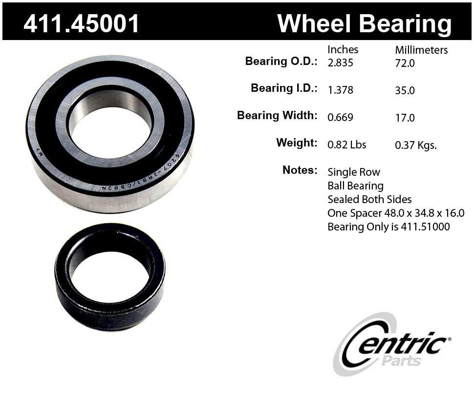 CENTRIC PARTS - Centric Premium Axle Shaft, Hub & Wheel Bearings - CEC 411.45001