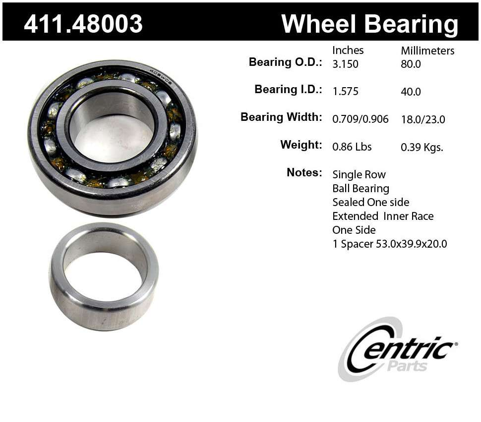 CENTRIC PARTS - Premium Axle Shaft Bearing Assembly - CEC 411.48003