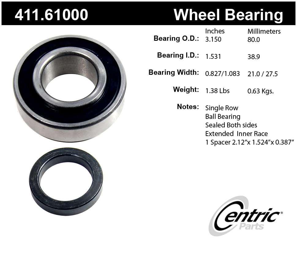 CENTRIC PARTS - Premium Axle Shaft Bearing Kit - CEC 411.61000