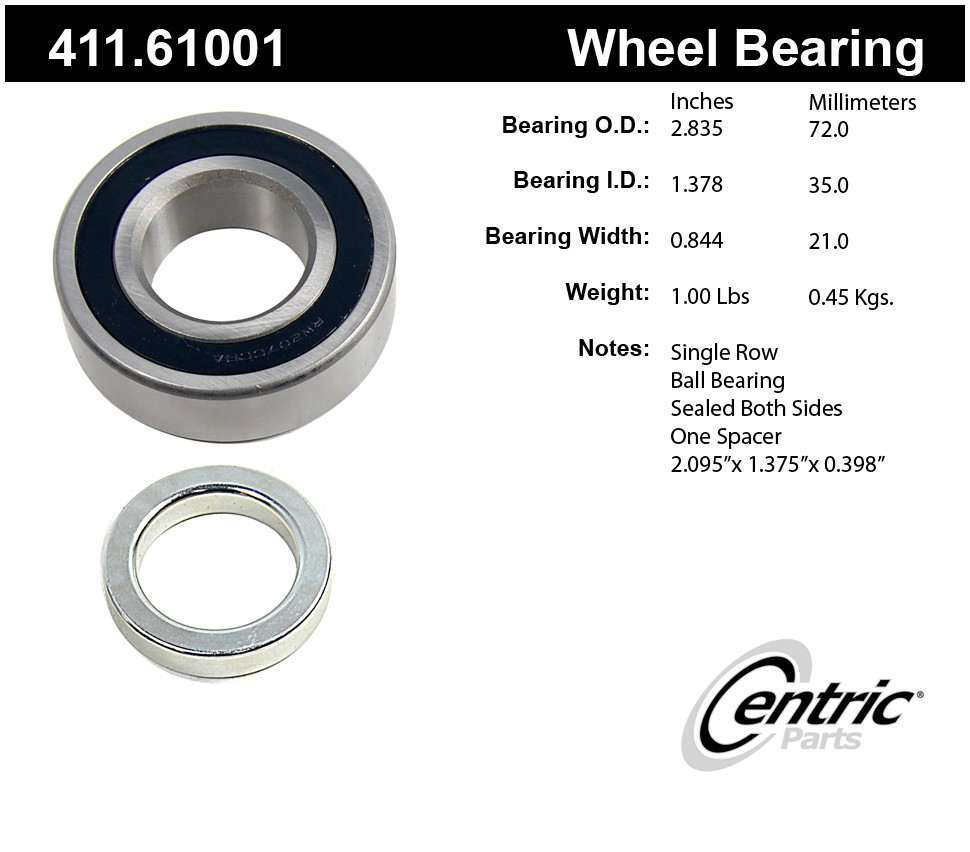 CENTRIC PARTS - Premium Axle Shaft Bearing Kit - CEC 411.61001