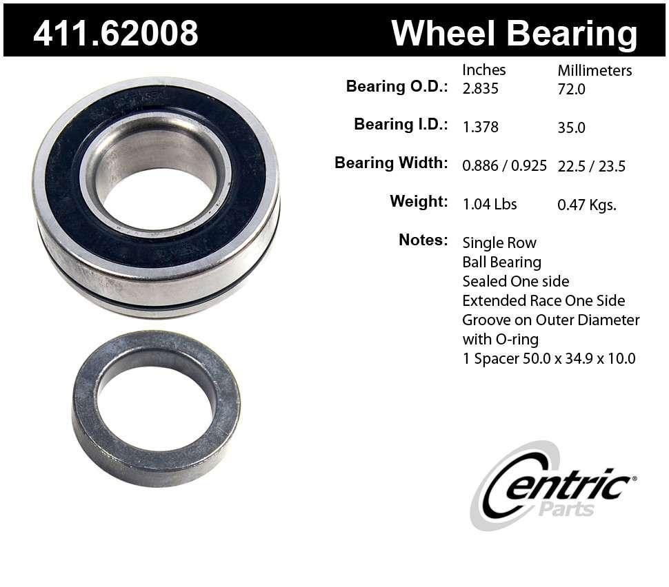 CENTRIC PARTS - Premium Bearings - CEC 411.62008