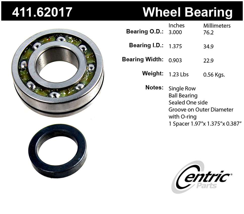 CENTRIC PARTS - Premium Bearings - CEC 411.62017