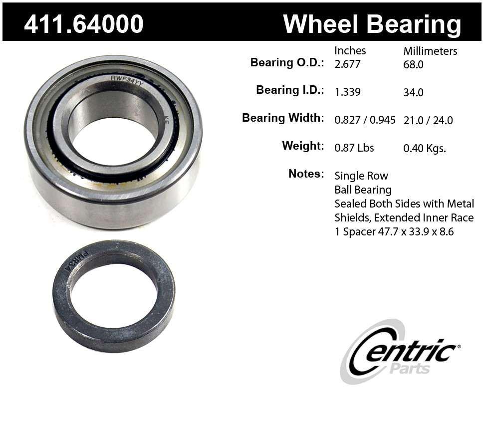 CENTRIC PARTS - Premium Bearings - CEC 411.64000