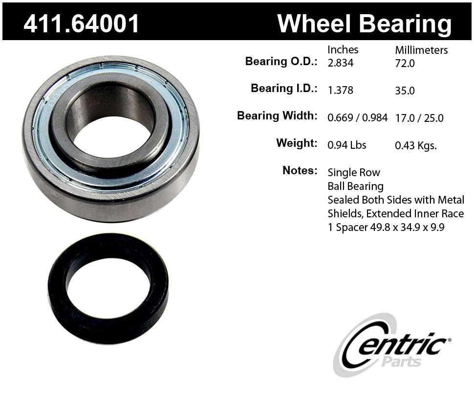 CENTRIC PARTS - Premium Bearings - CEC 411.64001