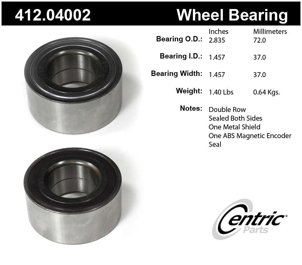 CENTRIC PARTS - Premium Bearings - CEC 412.04002