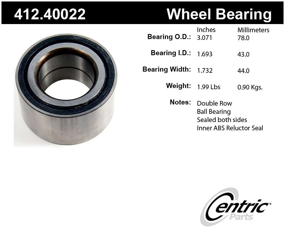 CENTRIC PARTS - Premium Bearings (Front) - CEC 412.40022