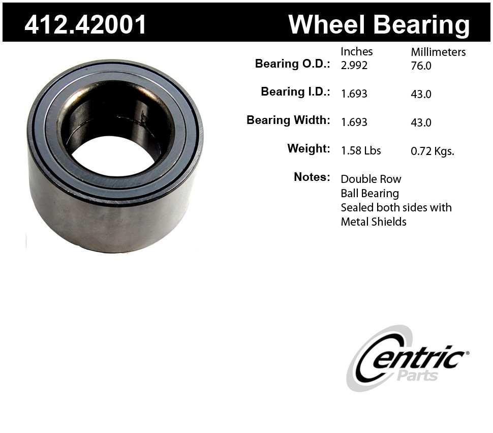 CENTRIC PARTS - Centric Premium Axle Shaft, Hub & Wheel Bearings - CEC 412.42001