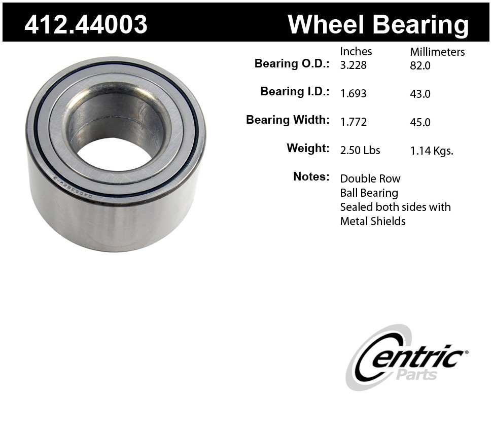CENTRIC PARTS - Premium Bearings (Front) - CEC 412.44003