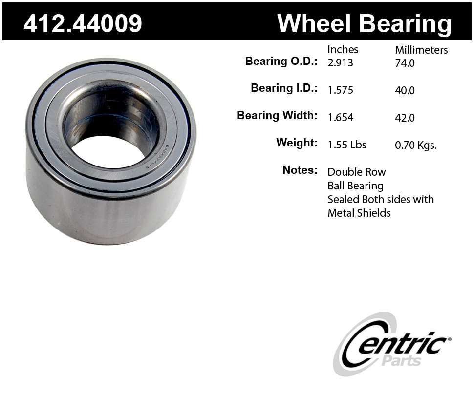 CENTRIC PARTS - Centric Premium Axle Shaft, Hub & Wheel Bearings - CEC 412.44009