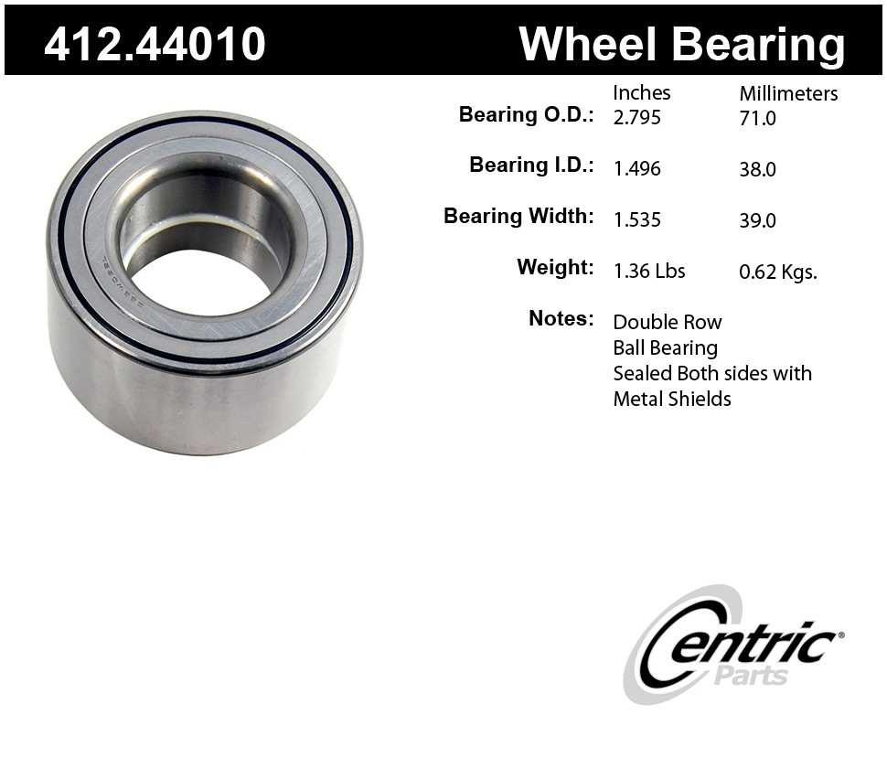 CENTRIC PARTS - Centric Premium Axle Shaft, Hub & Wheel Bearings - CEC 412.44010