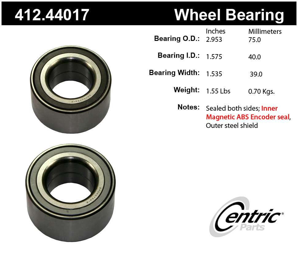 CENTRIC PARTS - Centric Premium Axle Shaft, Hub & Wheel Bearings - CEC 412.44017