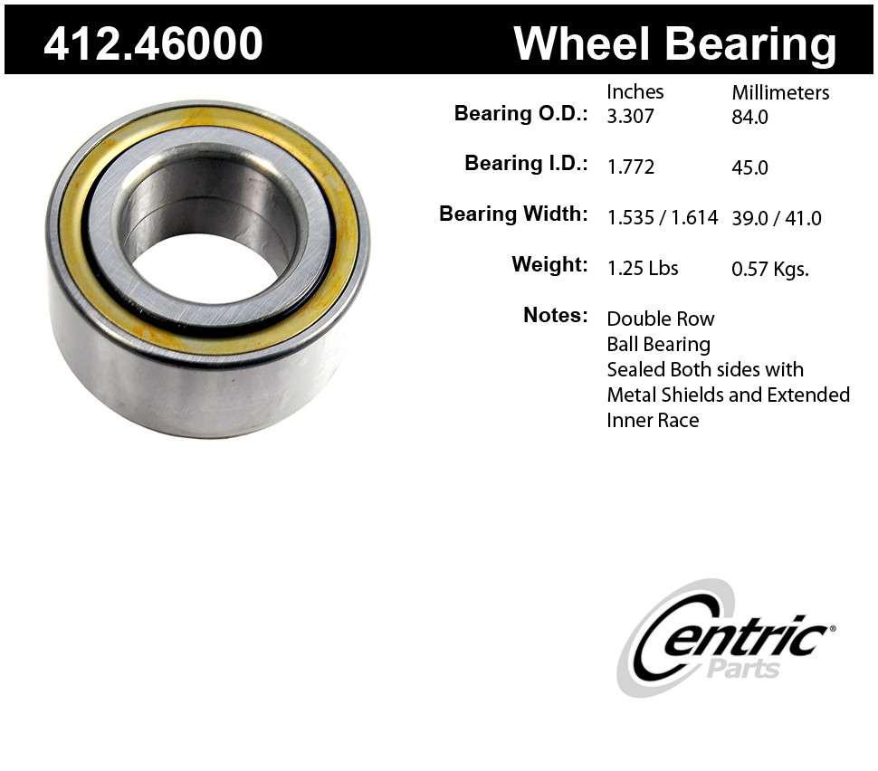 CENTRIC PARTS - Centric Premium Axle Shaft, Hub & Wheel Bearings (Front) - CEC 412.46000