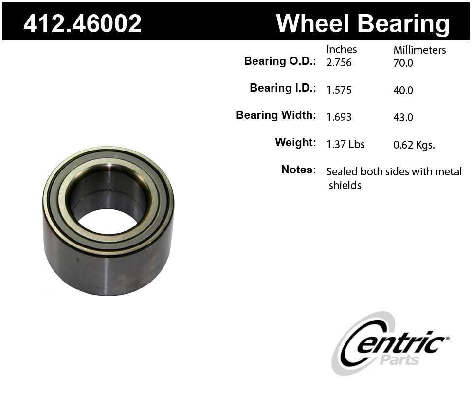 CENTRIC PARTS - Premium Bearings (Rear) - CEC 412.46002