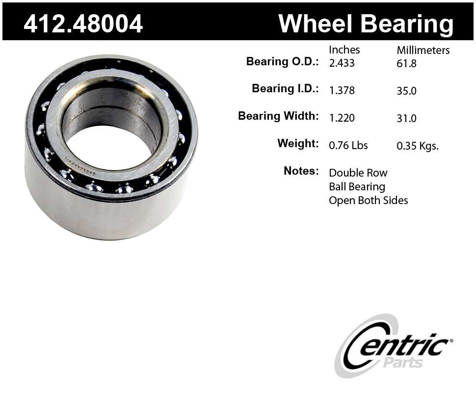 CENTRIC PARTS - Centric Premium Axle Shaft, Hub & Wheel Bearings (Rear) - CEC 412.48004
